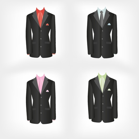 office dress, black jacket, shirt, tie, suit Vector