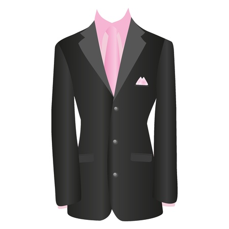 office dress, black jacket, shirt, tie, suit, illustration Illustration