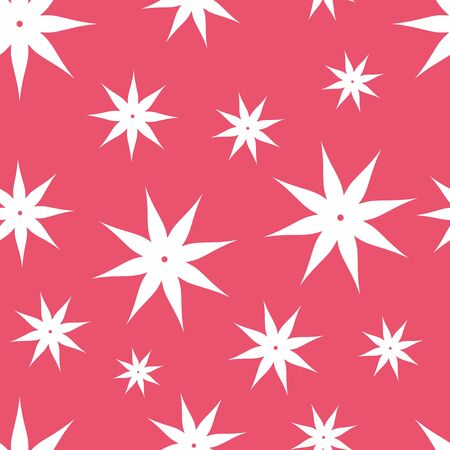 Seamless pattern with white flowers on red backgraund  Elegance  floral illustration  Simple textile ornament  Illustration