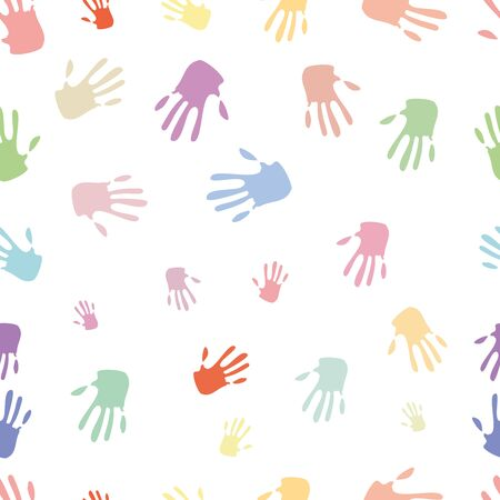 Seamless pattern of hand, bright colours, illustration Vector