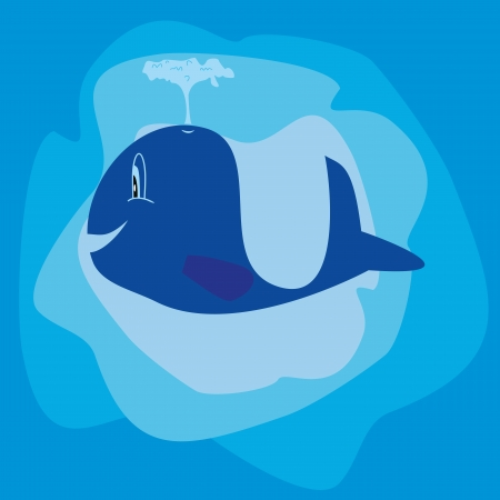 Whale cartoon image, cute and blue  illustration