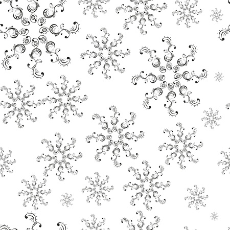 Seamless white pattern on black background