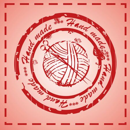 hand made stamp, knitted cloth tag Vector