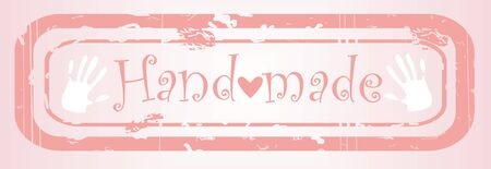 hand made pink stapm, cloth tag Vector