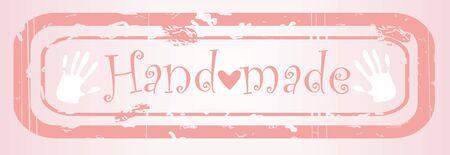 handgemaakte roze stapm, doek tag