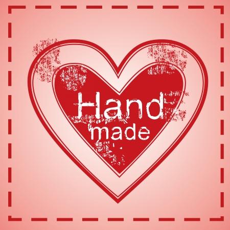 손으로 만든 심장 스탬프, 붉은 옷감 태그