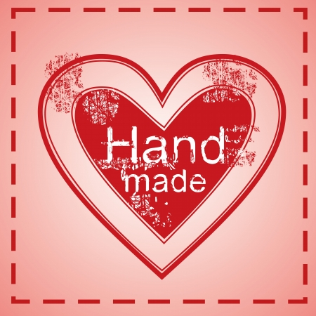 hand made heart stamp, red cloth tag Vectores