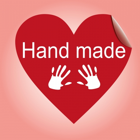 hand made heart sticker, red cloth tag Vector