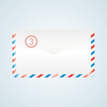 e  mail: E mail icon, envelope sign for button on blue background. Vector illustration