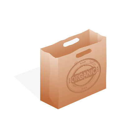 Paper shopping bag on white background. Vector illustration. Vector