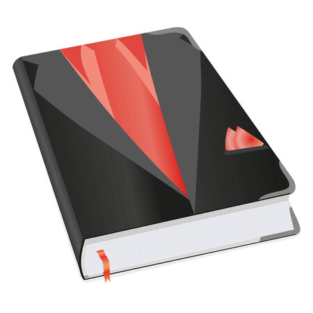 tabbed folder: Diary for business mans and boys with suit picture. Book for recording deeds. Copybook withblack suit, red tie, shirt and scarf with a bookmark and shadows. To schedule a businessman. Vector illustration.