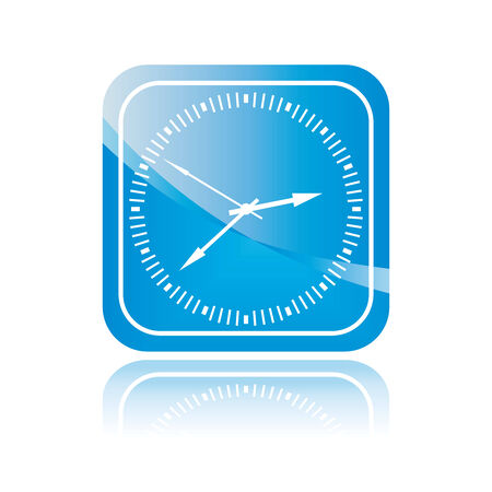 Clock button. Isolated blue icon. Vector illustration.