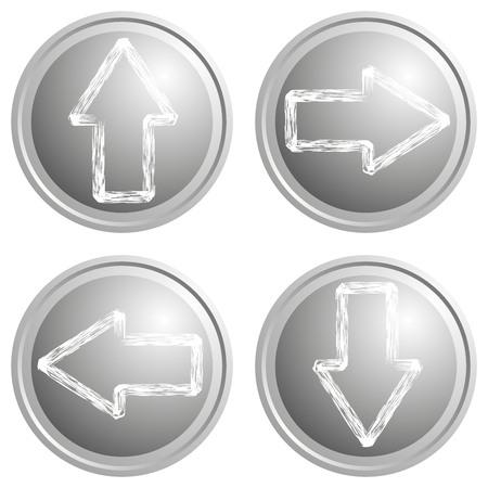 Round arrow button steel gray on white background. Vector illustration.