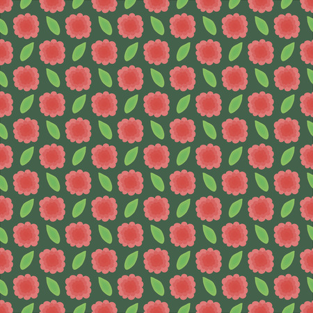 seamless floral pattern, vector illustration. Red flowers with green leafs. Illustration