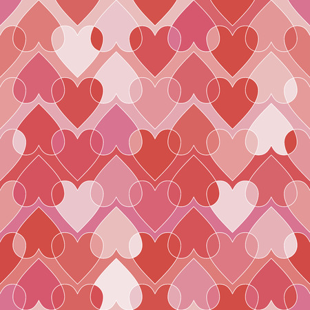 Vector seamless pattern with hearts. Modern, geometric, stylish texture in red and pink for Valentines day. Illustration