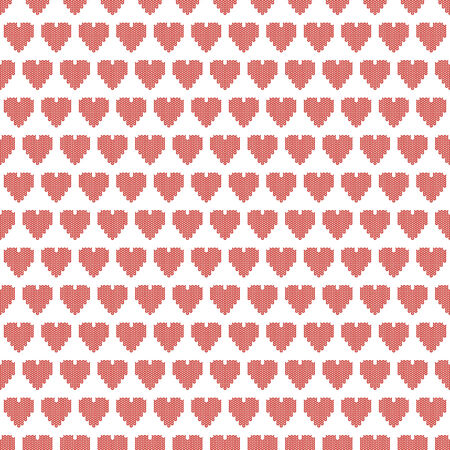 seamless knitting pattern, valentines day vector illustration with hearts Vector