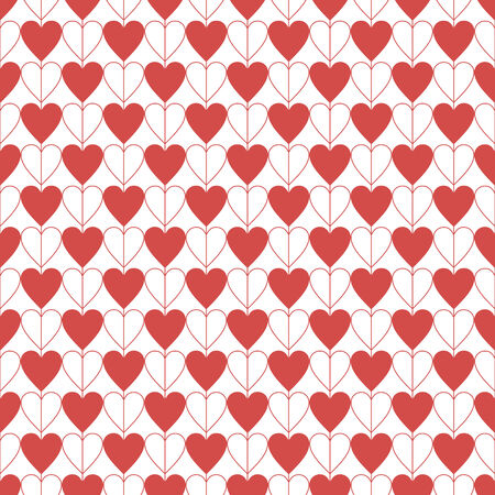 seamless hearts pattern, red vector illustration. Valentines day