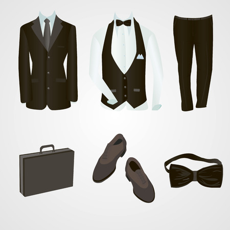 brown shirt: Male office clothes. Business style set. Black suit, pants, bow-tie, blue shirt, brown boots and a black case. Vector illustration.