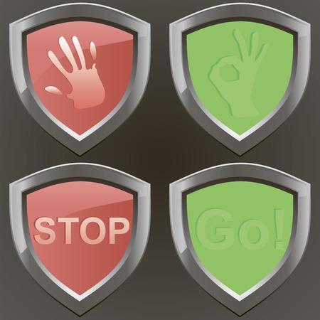 Stop and go conjunto de vectores whith cancelar brazo de señal y la muestra aceptable. Cuatro signos de metal. Foto de archivo - 25937412