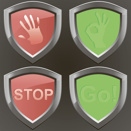 stop and go vector set whith cancel signal arm and ok sign. Four metal signs. Ilustração
