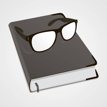 deeds: Glasses and diary for business mans, womens, boys and girls with glasses. Book for recording deeds. Copybook in black with a bookmark and shadows. To schedule a businessman. Vector illustration.