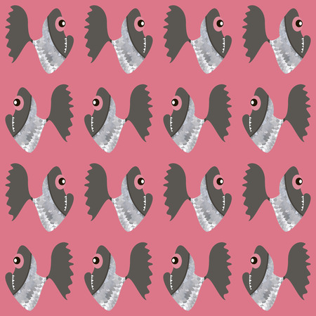 seamless pattern with angry fish. cartoon design, red vector illustration Vector