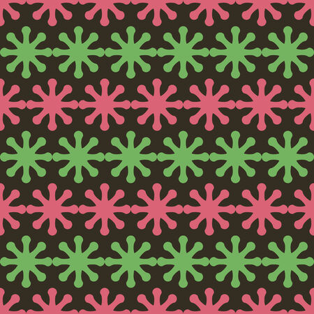 seamless pattern, dark background with green and red elements, geometric design, vector illustration Illustration