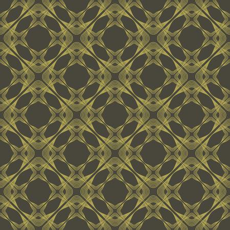 seamless pattern, dark background yellow elements, geometric design, vector illustration Illustration