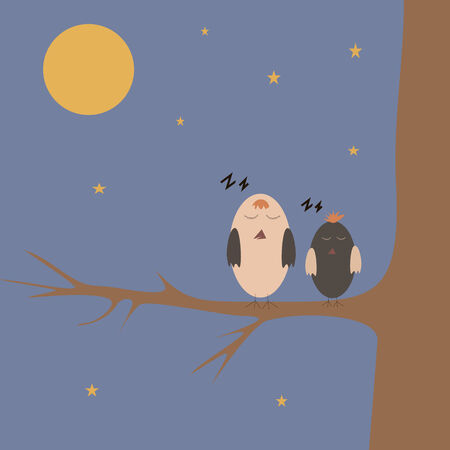 cartoon sparrows sleeping on the tree at night photo