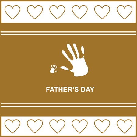 necktie beer: gift card on fathers day with kids and fathers hand, hearts, vector