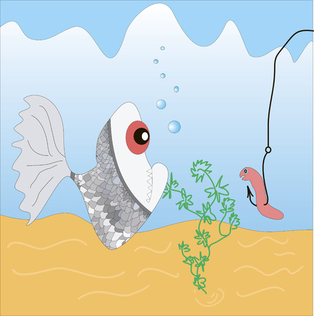fish and a worm on a fishing hook