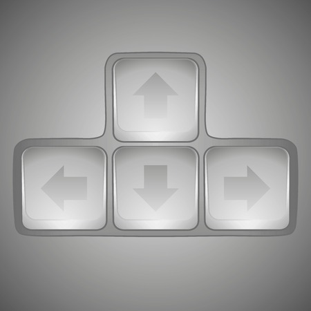 Arrow sign icon set. Simple internet button on dark background. Contemporary modern style. Vector illustration