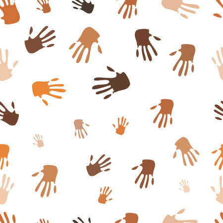Seamless pattern of hand, people of different races, vector illustration illustration