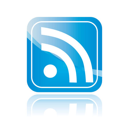 Wifi blue symbol, isolated icon, rss sign. Wireless Network button. Vector illustration. Stock Photo