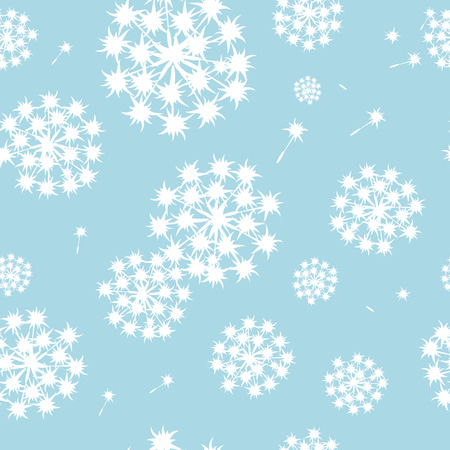 Vector seamless blue pattern with dandelions