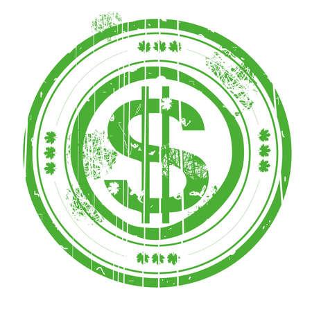 Dollar stamb green, vector illustration 免版税图像