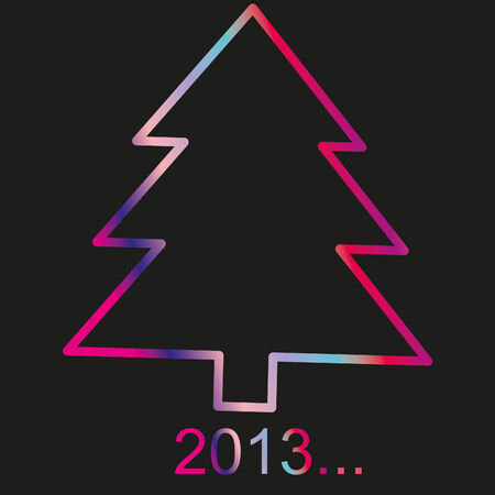 Christmas tree ornaments 2013 New Year on a black back, vector  Stock Photo