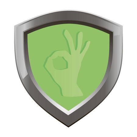 ok symbol: Simbolo OK mano, simbolo OK, OK segno icona, il segno giusto della mano su un bordo verde