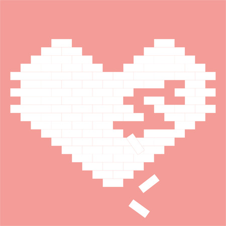 heart on wall - Valentines day, brick, with place for text, pink color, vector illustration