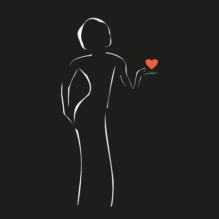 women with heart, outlines of a girl on a black backdrop, vector