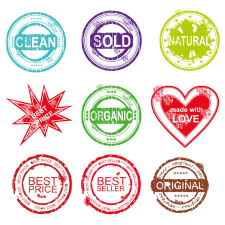 Stamps, set,  signets for eshop - clean, sold, natural, best price, organic, made with love, best seller, original, vector