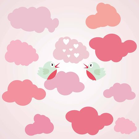 Love bird in the air- Valentine's day, light pink, couple, vector photo