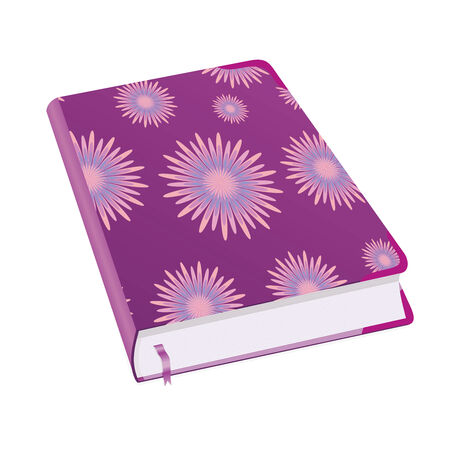 tabbed folder: Diary for business women and girls. Book for recording deeds. Copybook with lilac flowers with a bookmark and shadows. To schedule a businessman. Vector illustration.
