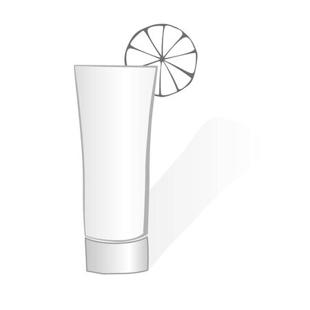 darck: shot glass with alcohol and lemon, vector Stock Photo