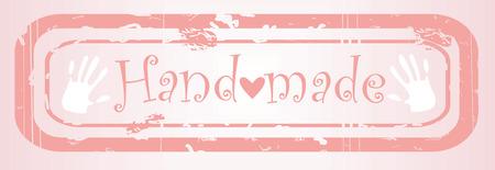 hand made pink stapm, cloth tag, vector illustration illustration
