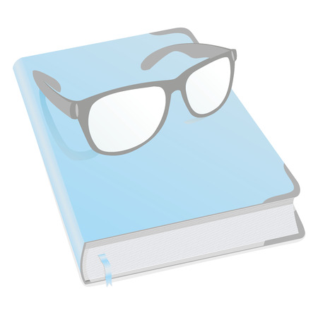 deeds: Glasses and diary for business mans, womens, boys and girls with. Book for recording deeds. Copybook in blue with a bookmark and shadows. To schedule a businessman. Vector illustration.