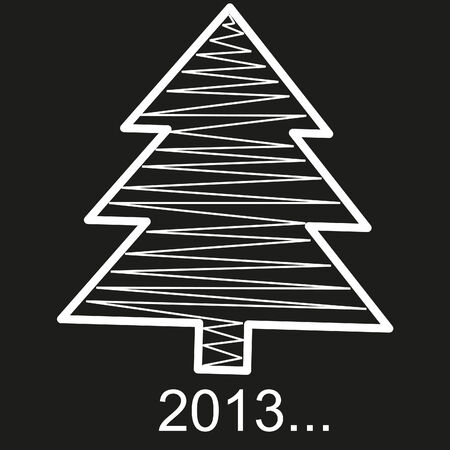 Christmas tree ornaments New Year on a black back, vector  Stock Photo
