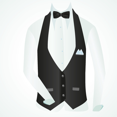 vest shirt and bow tie in business style, vector illustration Stock Photo