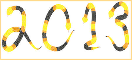 Snake 2013 background, Year of the snake design - data 2013 made from black yellow and orange snakes on whote background - vector illustration illustration