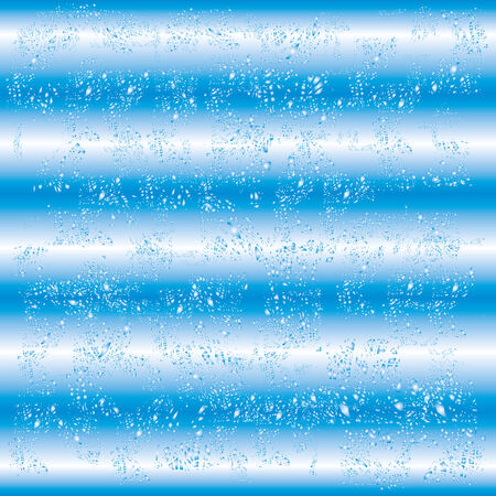 Blue and white striped abstract background with water particles, droplets. Old worn texture. Vector illustration. Stock Photo